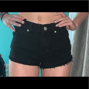 bullhead black frayed short shorts high rise 0
